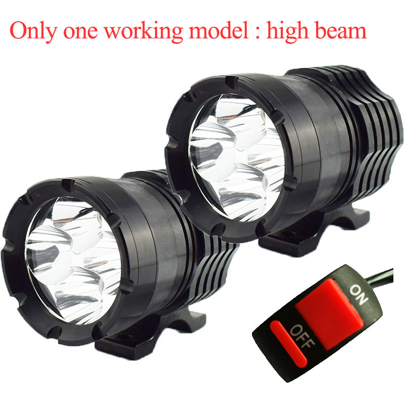2Pcs Motorcycle LED Headlight Spotlight 12V 40W 6000k Only One Mode High Beam Motorbike Auxiliary Work Lights Motor Fog Lamp