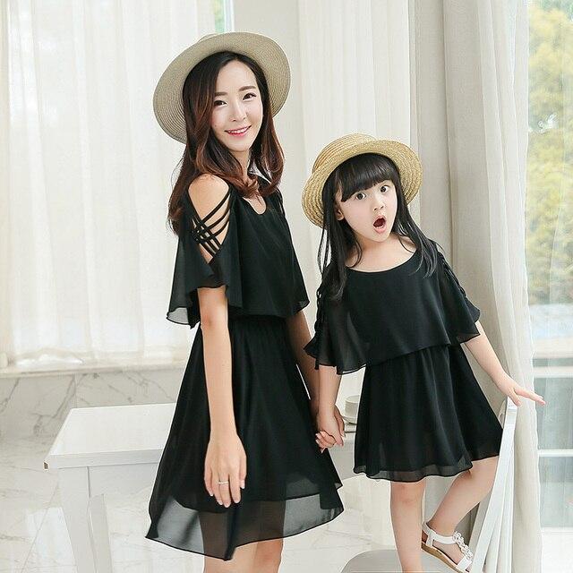 Оптовая черное платье семья посмотрите мать дочь платья dropshipping женщины сарафан девушка вечернее платье девушки платья лето 2017