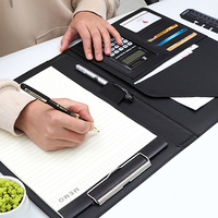 Harphia Business bag A4 classical PU leather manager document pu file folder for office with calculator clip board