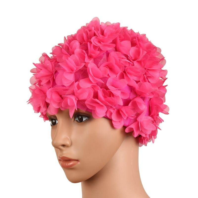 6 Colors Hat Women Petals Bathing Cap Swimming Pool Swimming Cap Hat Free size Colorful Bathing Cap Hy