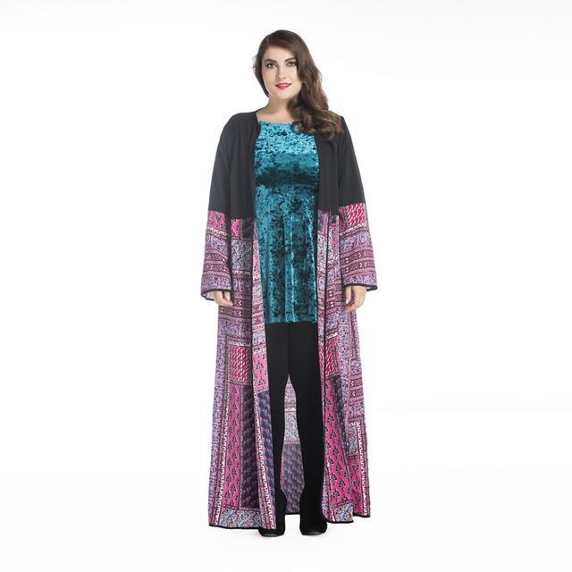 Chilaba turco musulmán impresa más tamaño cardigan ropa de mujer abrigo largo dubai moda de alta calidad de la rebeca outwear