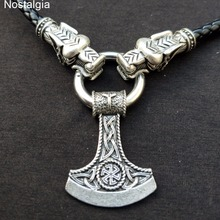Nostalgia Kolovrat Symbol Slavic Perun Axe Pendant AlGIZ Rune Viking Dragon Heads Leather Chain Necklace Collier Sautoir Long