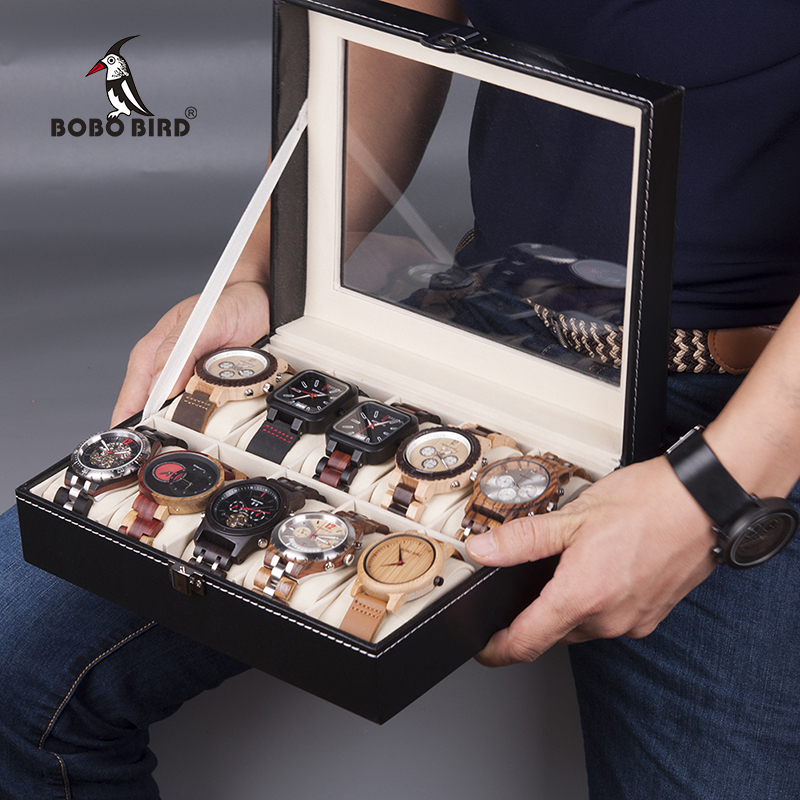 BOBO BIRD Watches Display Box Organizer Storage Box Leatherette Wrist Watch Holder Jewelry Display Case fashion wrist watch box jewelry bangle bracelet display storage holder organizer