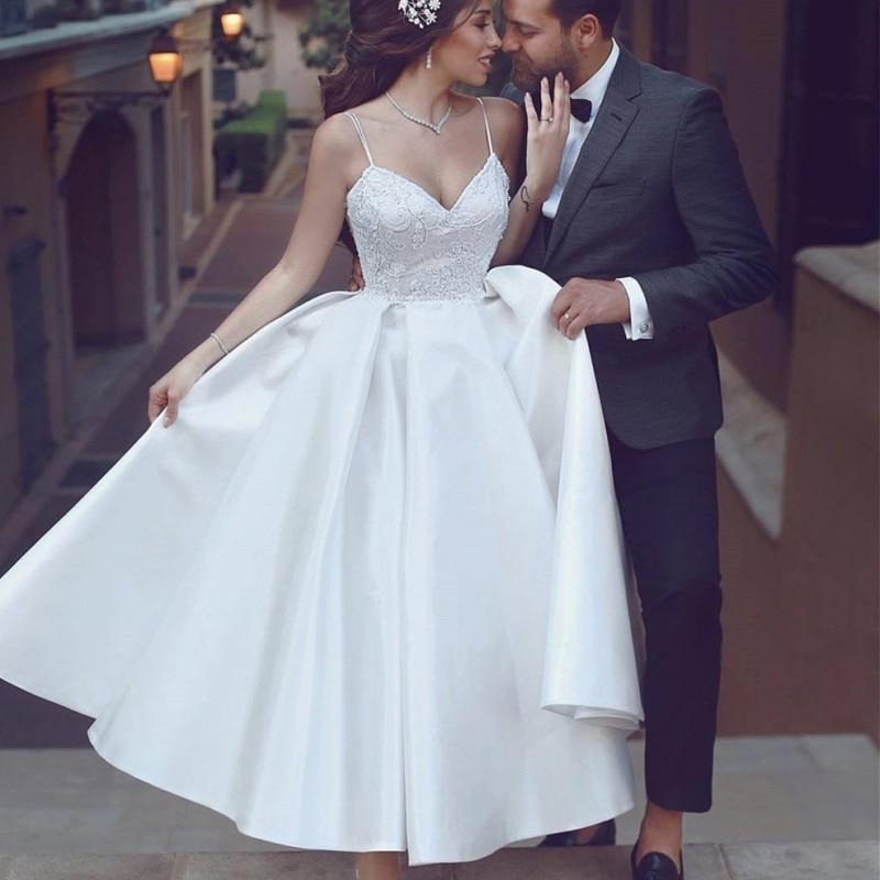 1950s vintage Wedding Dresses Backless A Line Ankle Length Sexy Short Bridal Gowns Cheap Vestido De