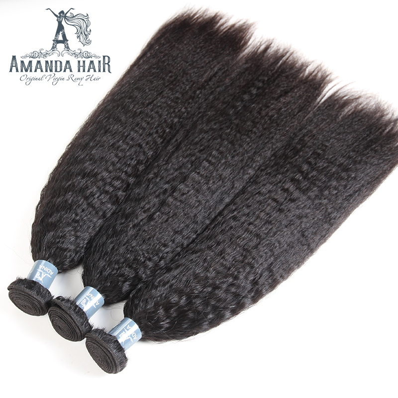 Amanda Yaki Human Hair Bundles Kinky Straight Hair For Salon Soft Human Virgin Hair Extension 3 Bundles Yaki Straight Hair Weft