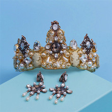The bride wedding headdress Baroque crown vintage fashion luxury bridal jewelry ornaments queen women hairband hairjewelr