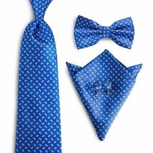 New Brand DiBanGu Paisley Tie Bowtie Set 100% Silk Jacquard Mens Necktie Gravata Hanky Cufflinks Set Mens Tie For Man NL-0027