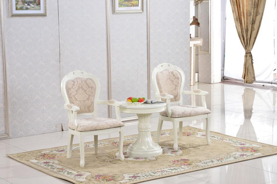 European Style Living Room Furniture Round Coffee Tea Side Table Leisure  White Antique Vintage Wooden Small Corner Lucite