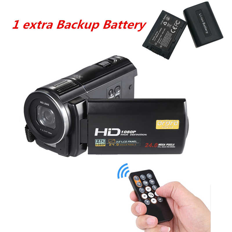 1080P Full HD Digital Camera 24MP Professional Video Camcorder Recorder CMOS 16X Photo Camera with Backup Rechargeable Battery