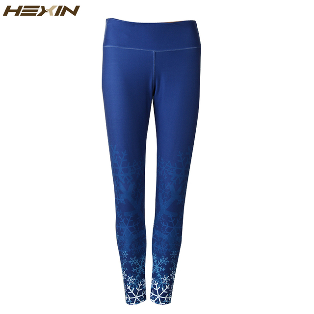 HEXIN 92%Polyester+8%Spandex Leggings Fitness Snowflake Printed Leggins Women Velvet Legging Stretchable Sanding Leggings
