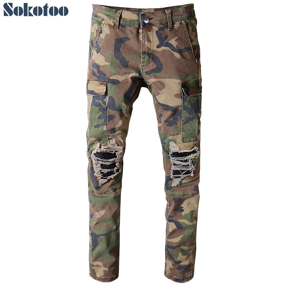Sokotoo Men's camouflage printed patchwork military biker jeans for moto Slim fit straight army green pockets cargo denim pants