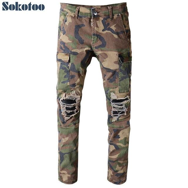 Sokotoo Для мужчин камуфляж печатных лоскутное военные байкерские джинсы для moto Slim fit straight army green карманы Карго джинсы