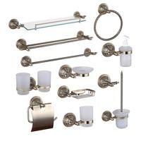 Bronze Bathroom Hardware Accessories Copper Shower Shampoo Soap Dish Glass Shelf Towel Rail Ring Cup Holder