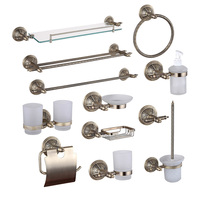 Bronze Bathroom Hardware Accessories Copper Shower Shampoo Soap Dish Glass Shelf Towel Rail Ring Cup Holder