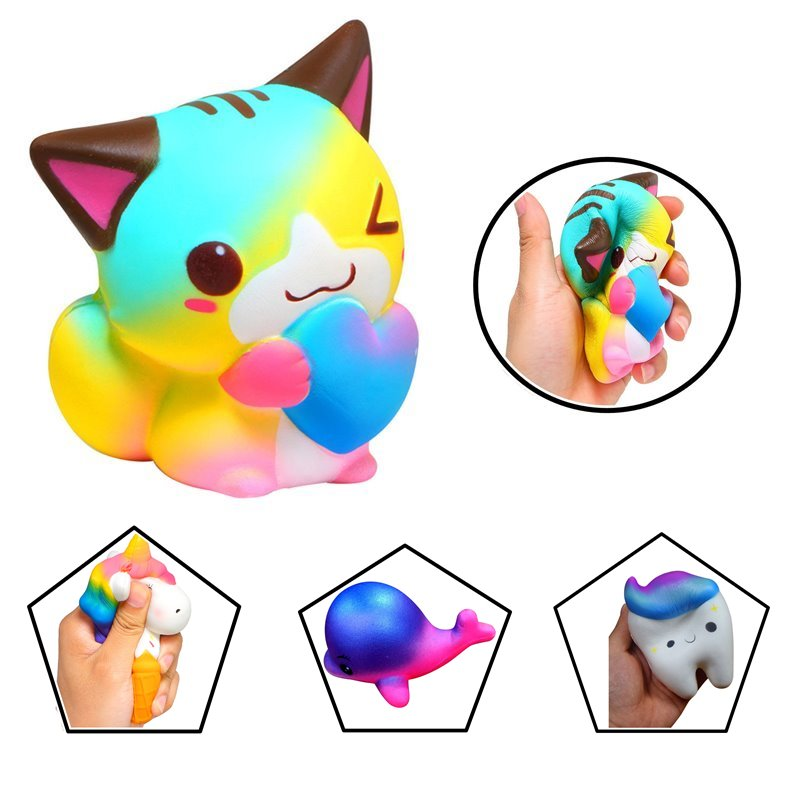 Honest Anti-stress Cute Squishy Charm Slow Rising Unicorn Squishes Cat Cute Dolphin Tooth Squishy Toy Pu Toy Kawaii Extremely Efficient In Preserving Heat