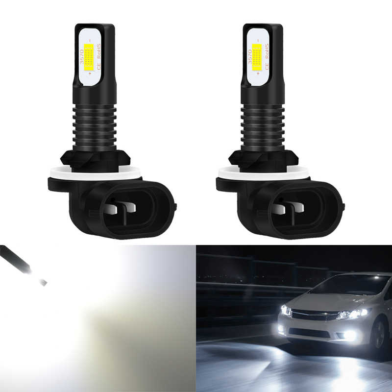 Katur 2pcs 72W H27W2 881 Led Bulbs For Cars Running Driving Fog Light Super Bright 6000K White Auto Lighting Canbus Error Free