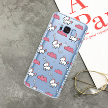 Cute Unicorn Cartoon Transparent Ultra Thin Soft Silicone Phone Case Back Cover For Samsung S8 S8 Plus S7 S7 EDGE