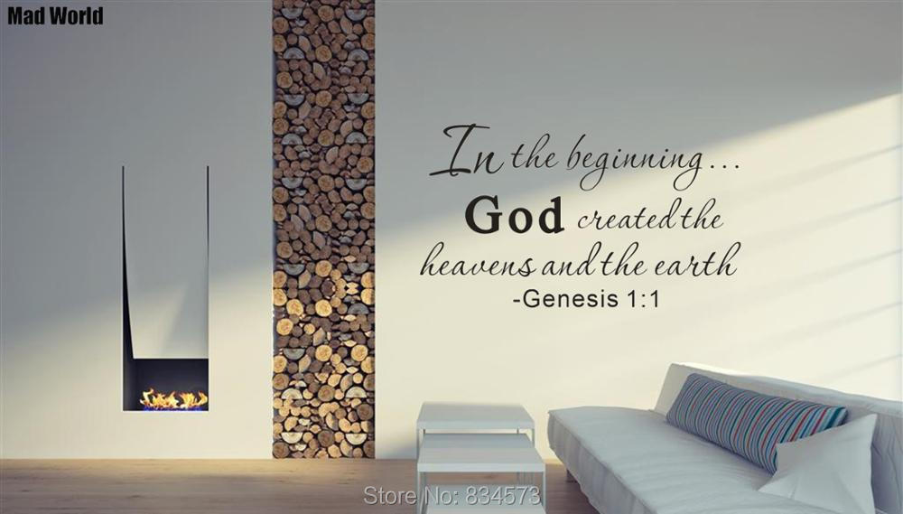 In the Beginning God Created Heavens and Earth Wall Art Stickers Wall Decal Home DIY Decoration Removable Decor Wall Stickers