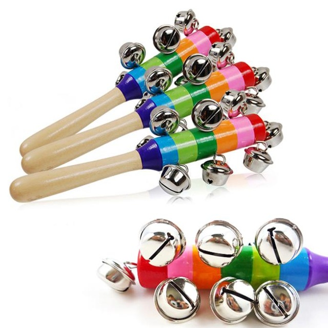 Free Shipping Colorful Rainbow Hand Held Bell Stick Wooden Percussion Musical Toy For KTV Party Kids Game Wholesale Retail