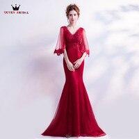 Королева Свадебные Вечерние платья Русалка v-образным вырезом атласная Кружево Бисер красный пикантные длинные Для женщин платья для выпус...