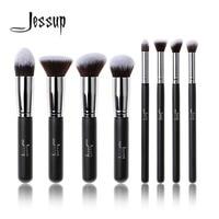 Professional 8pcs Black Silver Foundation Blush Liquid Brush Kabuki Makeup Brush Tools