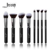 Professional 8pcs Black Silver Foundation Blush Liquid Brush Kabuki Makeup Brush Tools