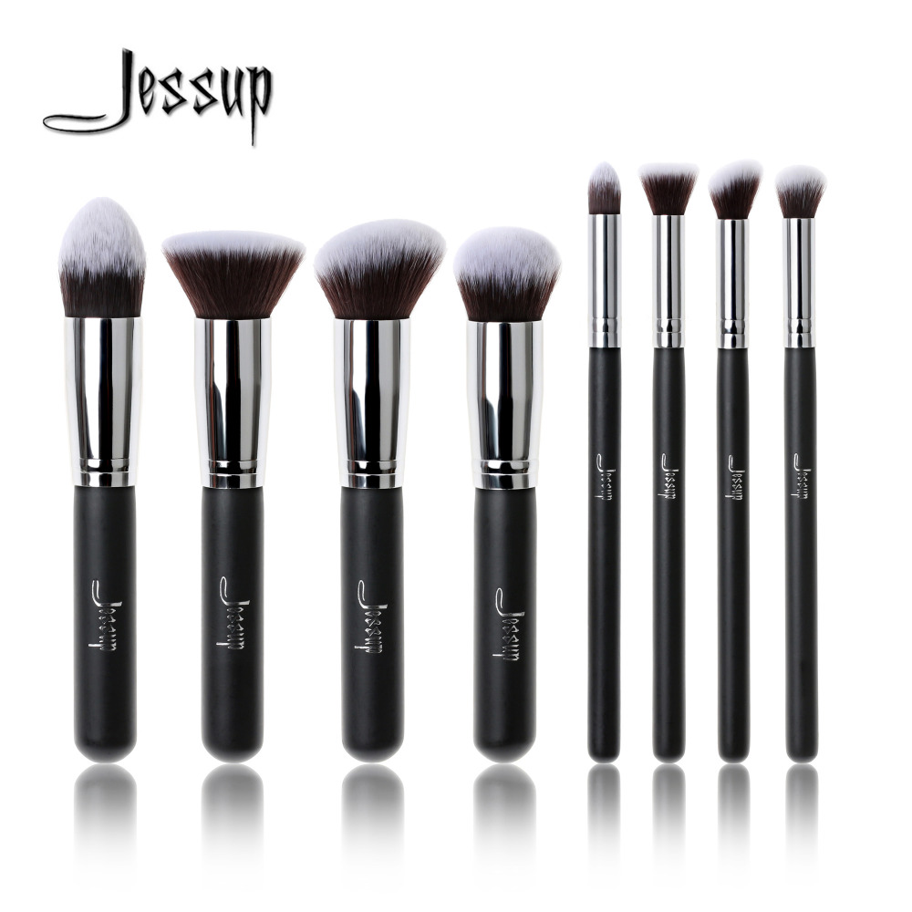 Jessup Brand Professional 8pcs Black/Silver Foundation blush Liquid Kabuki brush Makeup Brushes Tools set Beauty Cosmetics kit professional 10pcs blue silver jessup makeup brushes sets beauty kit foundation kabuki precision brush cosmetics make up tools