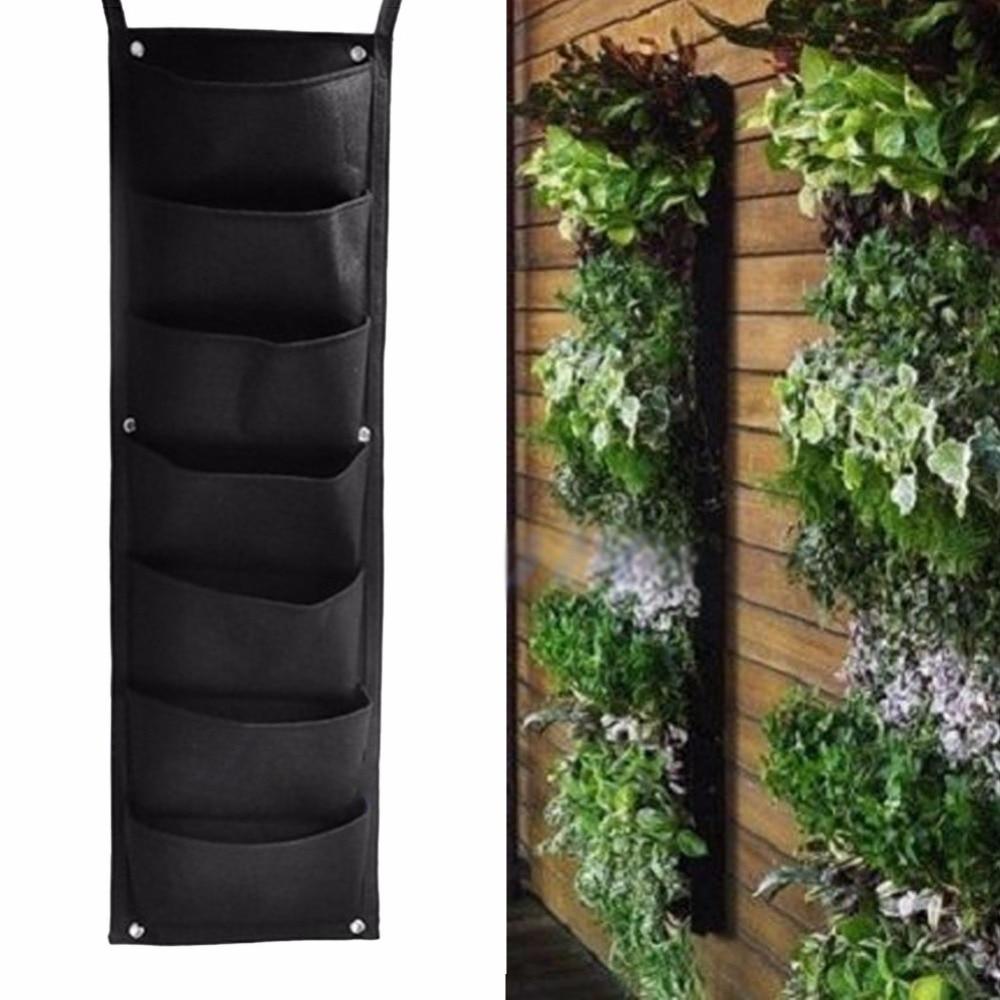 5 stk. Wall Hanging Planting Tasker Green Grow Bag Planter Vertikal Have Vegetabilske og frø Living Living havne Home Supplies