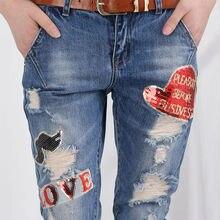 Сексуальные 2019 джинсы скинни спандекс средней талии Haren Брюки Отверстие для вышивания до щиколот