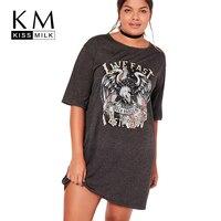 Kissmilk Big Size Women Clothing Casual Basic Print T-shirt Loose O-Neck Gray T-shirt Short Sleeve Plus Size T-shirt 4XL 5XL 6XL