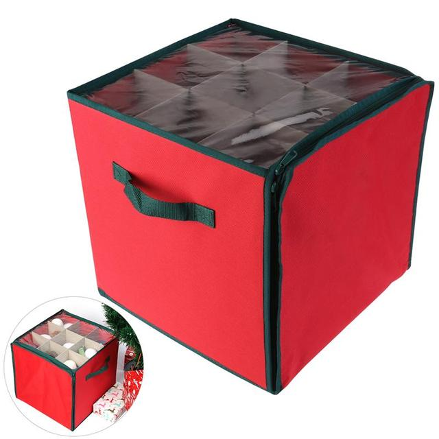 NICEXMAS Holiday Christmas Ornament Storage Chest With 3 Trays Holds Up To  27 Ornaments Balls With