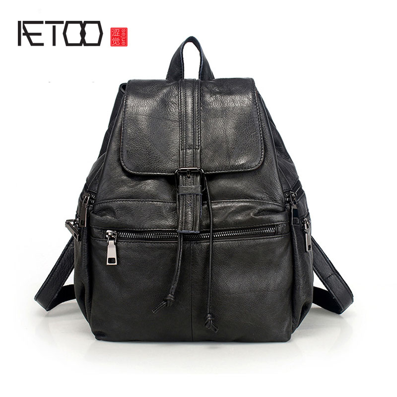 AETOO New ladies Baotou cowhide shoulder bag casual leather Korean version of the bag leather Backpack korean version canvas shoulder bag backpack student bag ladies cartoon cute new child birthday gift