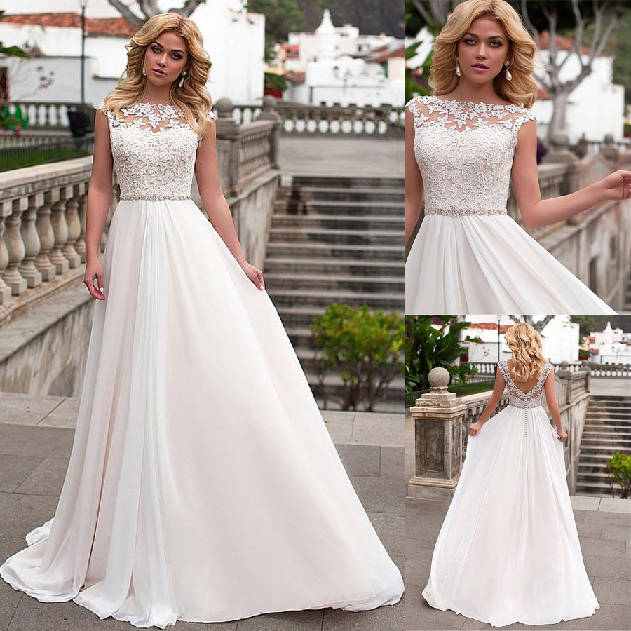 Graceful Chiffon Bateau Neckline A Line Wedding Dress With Lace Appliques Beadings Bridal Dress with Button