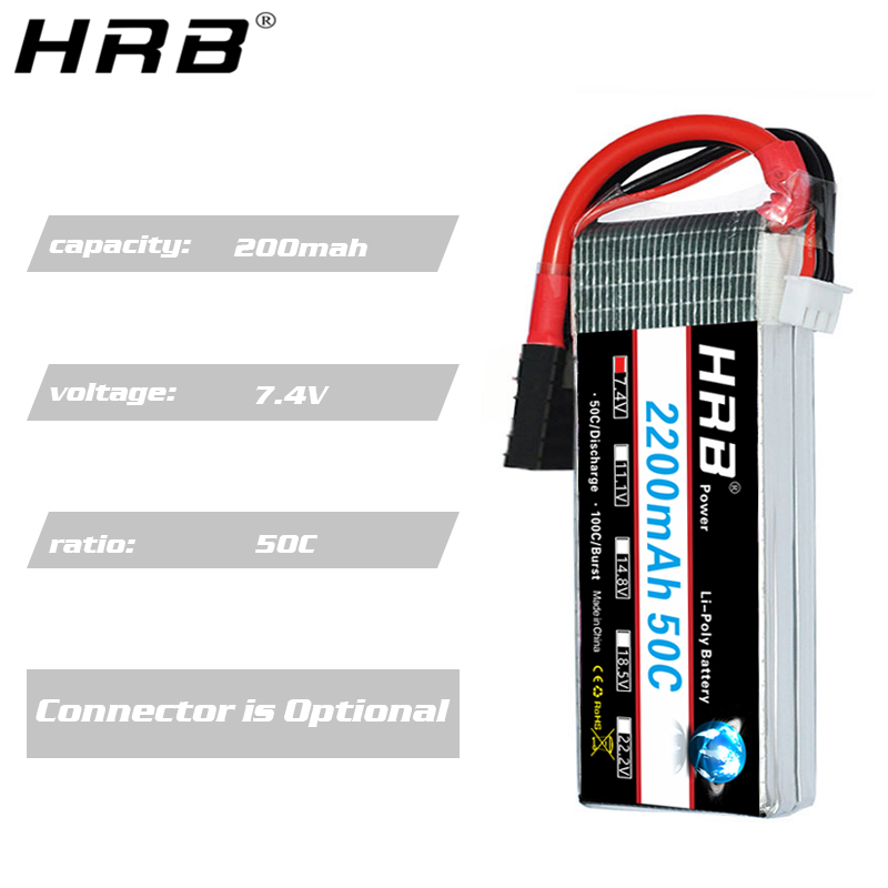 Image 4 - HRB 7.4V 2200mah Lipo Battery TRX 2S XT60 50C T Deans JST RC Parts For Traxxas Summit Slash VXL 1/16 4WD Monster Cars AirplanesParts & Accessories   -