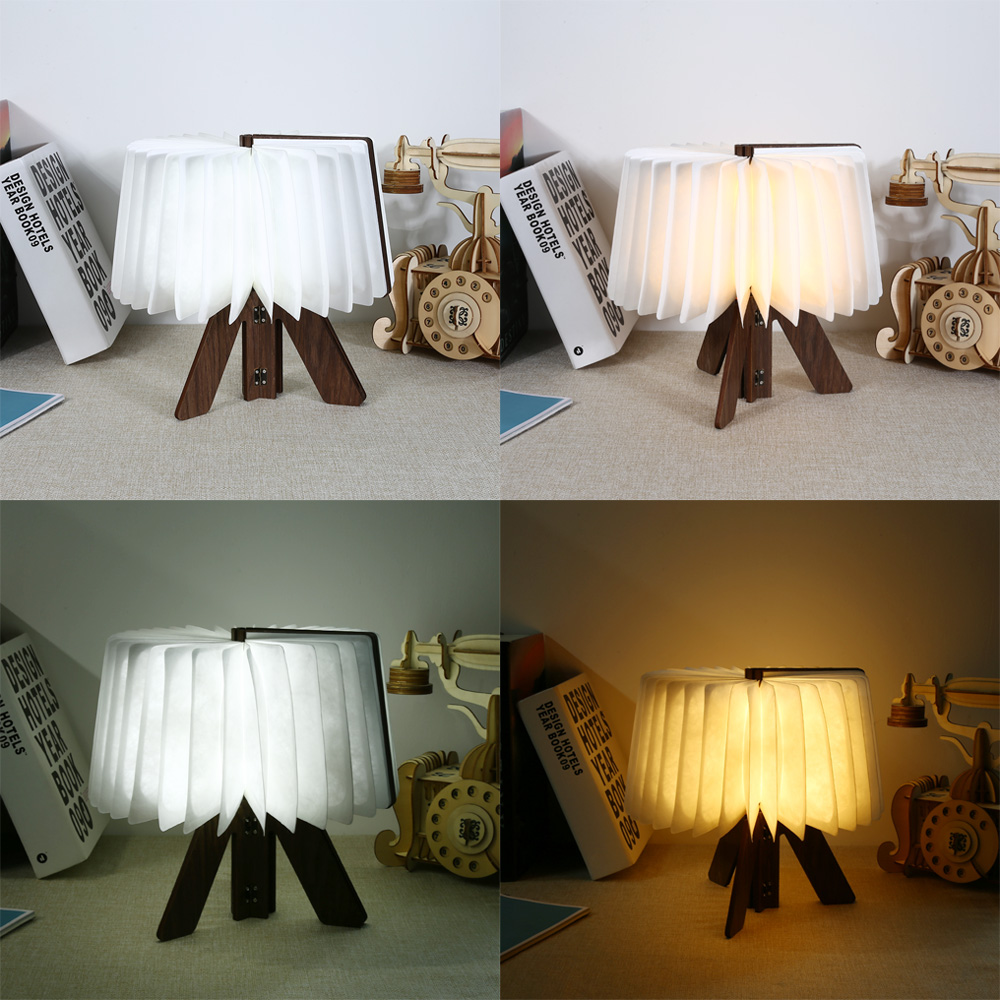 Original LED Wooden Folding Book Light USB Rechargeable R Shape Table Lamp Desk Night Light For Holiday Birthday Gift 2018 Hot