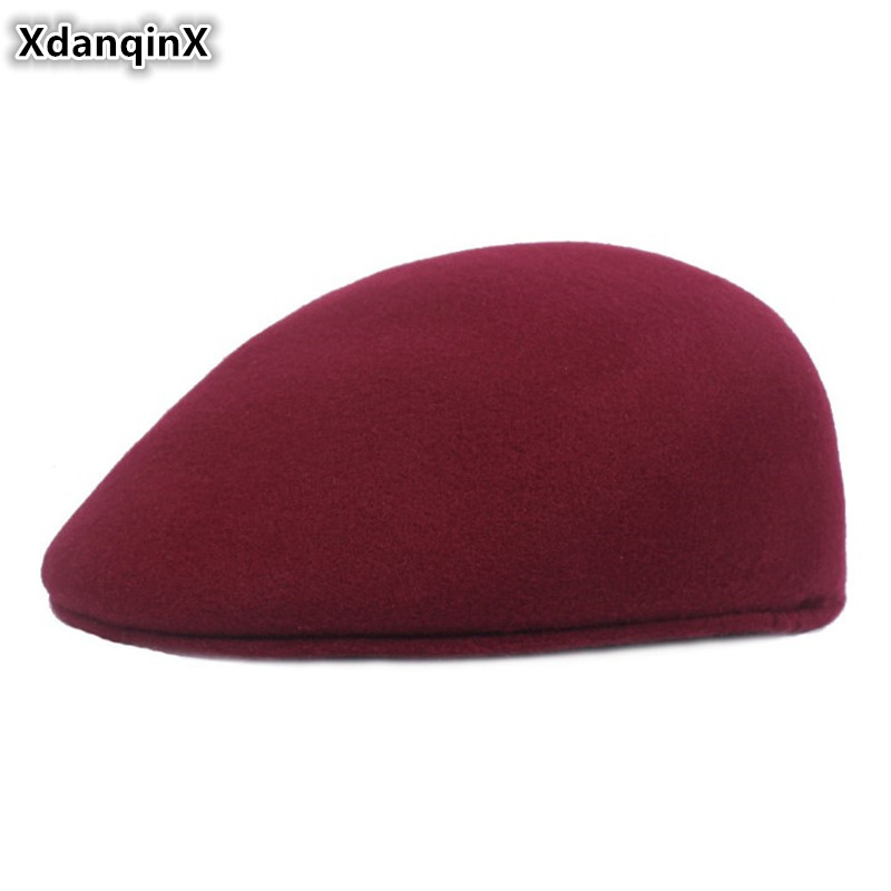 XdanqinX Autumn Winter Fashion Elegant Warm Berets For Women Simple Solid Color Duckbill Beret Women's Flat Cap Golf Ivy Cap NEW