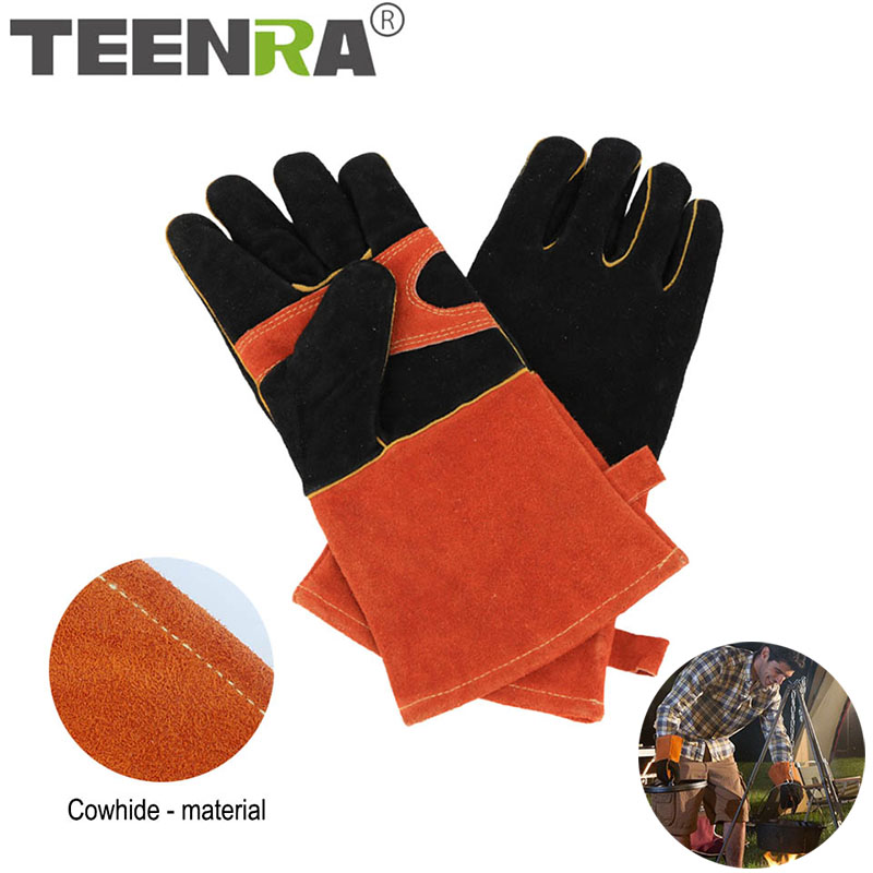 TEENRA 1 Pair BBQ Gloves Heat-resistant BBQ Grill Cooking Gloves Cowhide Gloves Long-arm Barbecue Mitt BBQ Tools