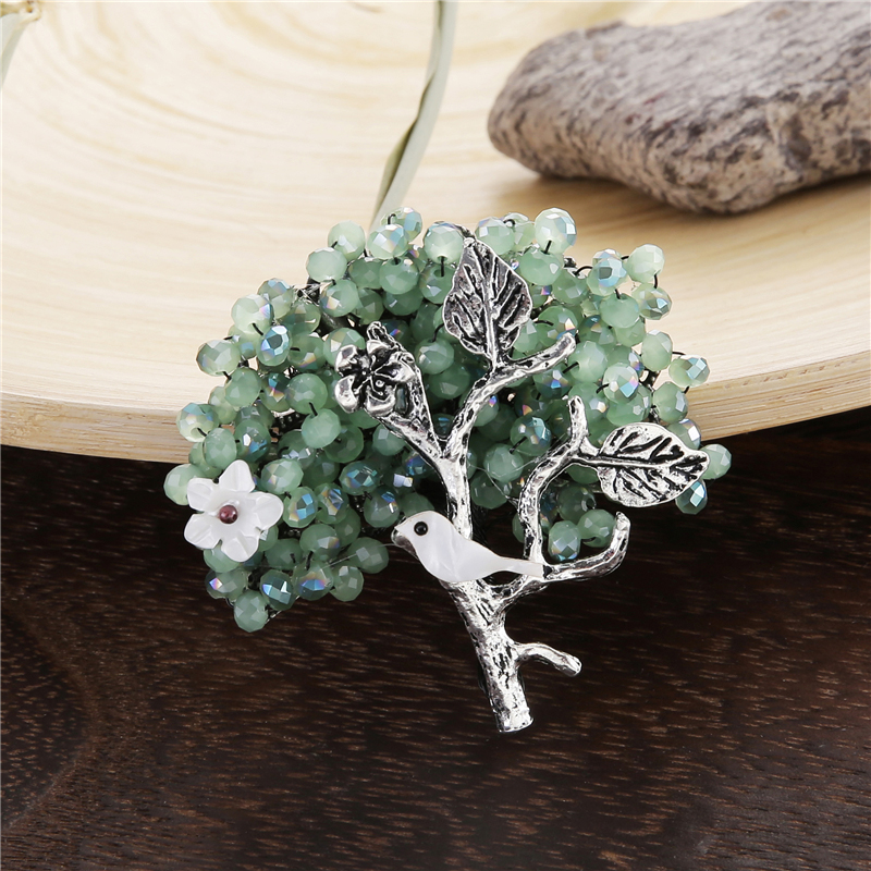 Crystal Beads Flower Tree Pins and Brooches for Women Natural Shell Bird Brooch Antique Silver Plated Green and Blue Pin Jewelry кольца