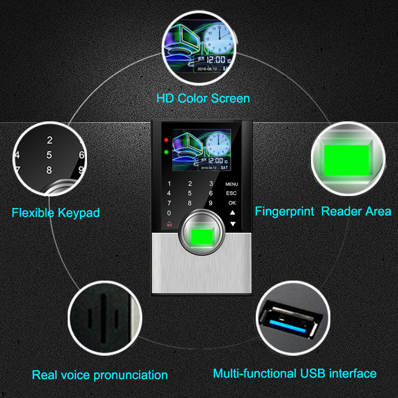 Biometric Attendance System Fingerprint Time Attendance System TCPIP Access Control Fingerprint&Card&Password Electronic Machine gprs real time fingerprint access guard tour system