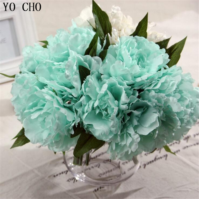 Cheap tiffany blue artificial fake peony silk flowers bridal bouquet cheap tiffany blue artificial fake peony silk flowers bridal bouquet flower arrangement home wedding party table garden decor in artificial dried flowers mightylinksfo