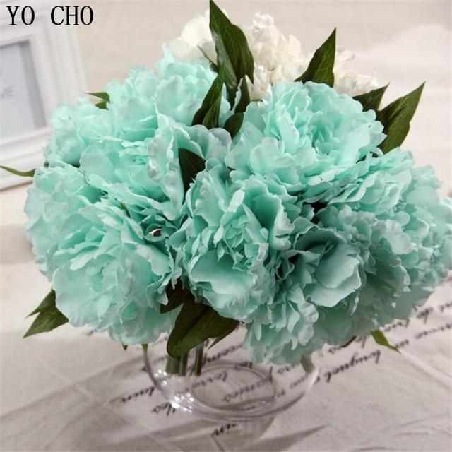 Mega Discount 373fc4 Cheap Tiffany Blue Artificial Fake Peony Silk Flowers Bridal Bouquet Flower Arrangement Home Wedding Party Table Garden Decor Cicig Co