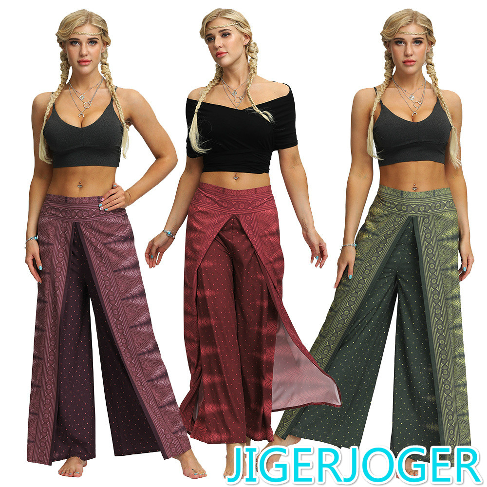 JIGERJOGER Side Open PALAZZO PANT Peacock Feather Dots Women's Loose Wide Leg Side Open Harem Pants Women Straight Casual Pants