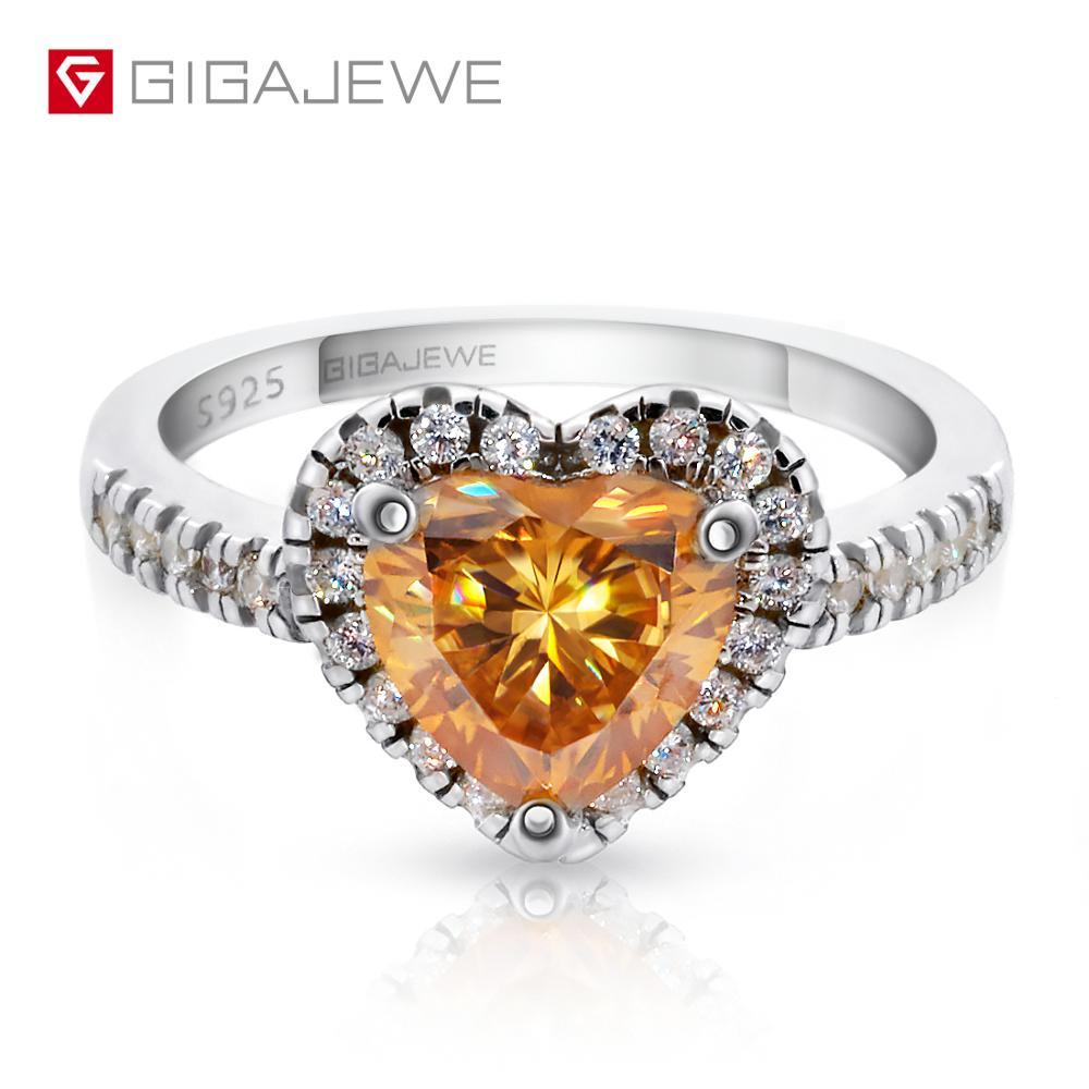 GIGAJEWE Moissanite 1 5ct 7 5mm Heart Cut Golden 925 Silver Ring Jewelry Fashion Love Token