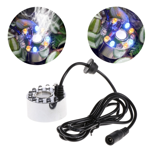 1.3M 12 LED Colorful Light Ultrasonic Mist Maker Fogger Water ...