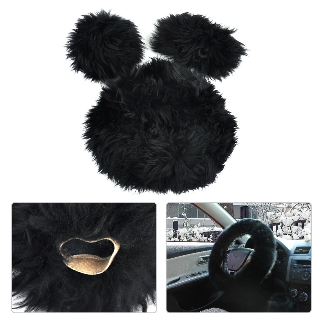 beler Black Long Soft Wool Plush Fuzzy Warm Steering Wheel Handbrake Gear Shift Cover Car Grips Accessory Winter For VW Audi