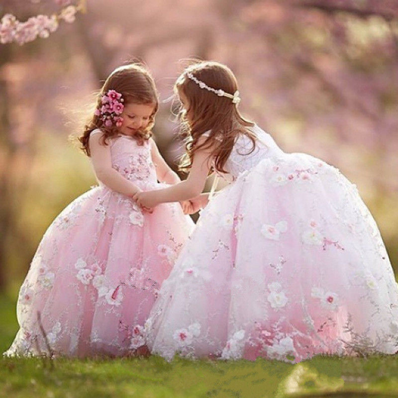 New Puffy Flower Girl Princess Dress Kids Party Pageant Wedding Bridesmaid Tutu Dresses Girls First Communion Dress any size flower girls dress embroidered sequin wedding pageant bridesmaid 2017 summer princess party dresses kids clothes size 7 14
