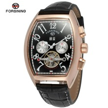 Forsining Date Month Display Rose Gold Case Mens Watches Top Brand Luxury Automatic Watch Tonneau Dial