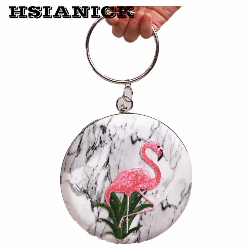 2017 New Arrival Women Bolsas Handbags Round Flamingo Pattern Metal Ring Marble Design Handbag Party Clutch Bag Evening Bags new arrival ship pattern design brooch for female