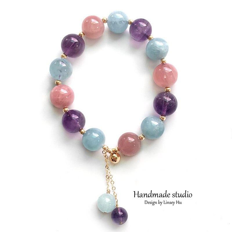 La MaxZa Multi Color Women's Natural Crystal Bracelet14k Gold Filled Bracelet and Bangle Jewelry Buddhist Prayer Handmade SC1120