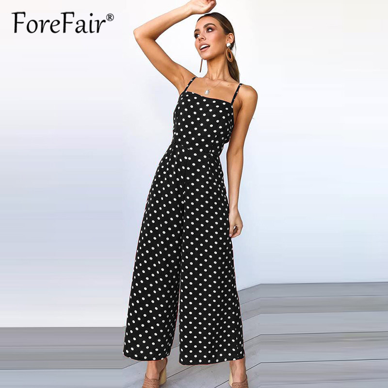 Forefair women rompers womens   jumpsuit   2019 full length playsuit sexy sleeveless back bow tie polka dot strap wide leg   jumpsuits